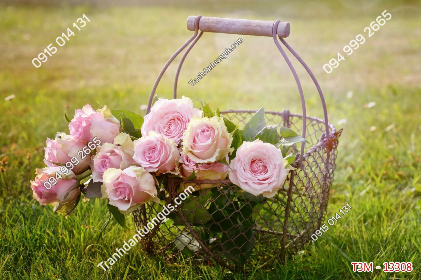 Tranh dán tường lẵng hoa hồng - 13308 demo