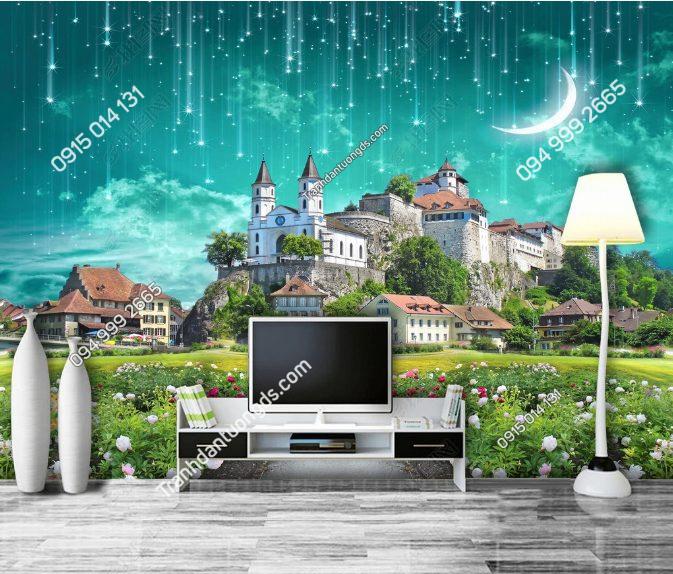 Tranh dán tường lâu đài sao băng phòng khách - DS15251246