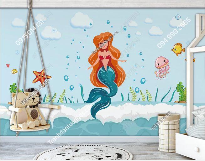 Tranh dán tường nàng tiên cá - DS18514070