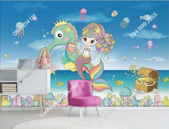 Tranh dán tường nàng tiên cá ngựa - DS18883722
