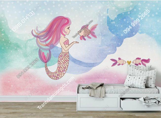 Tranh dán tường nàng tiên cá tóc hồng - DS18735773