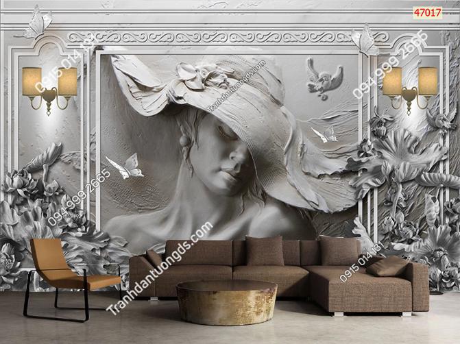 Tranh dán tường phào chỉ giả điêu khắc 47017