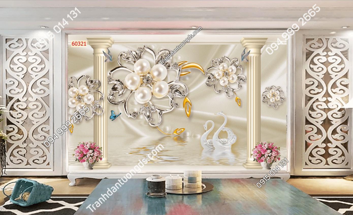 Tranh dán tường phào chỉ hoa ngọc trai 60321