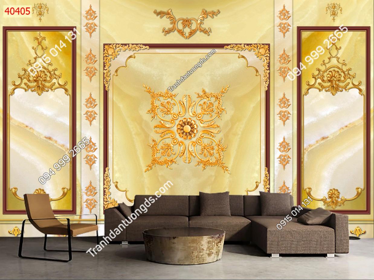 Tranh dán tường phào chỉ nền vàng 40405 DEMO