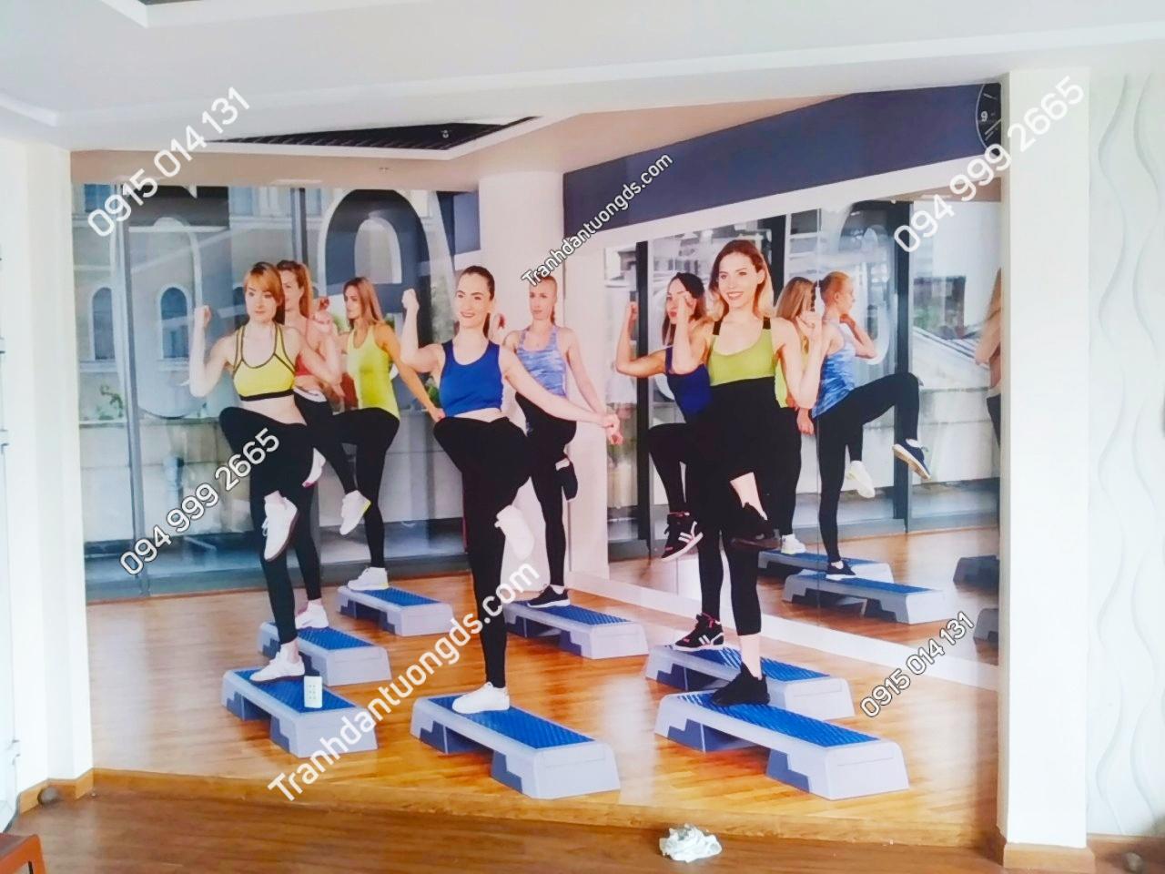 Tranh dán tường phòng tập gym