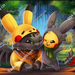 Tranh dán tường pikachu_and_toothless