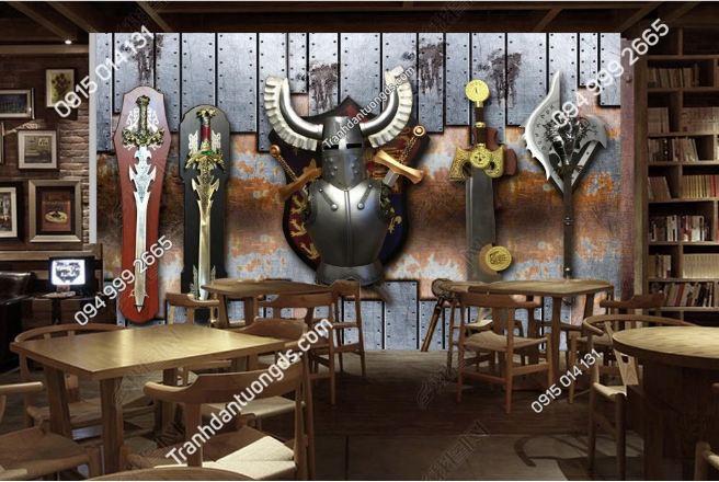Tranh dán tường quán beer kỵ sĩ DS16716261