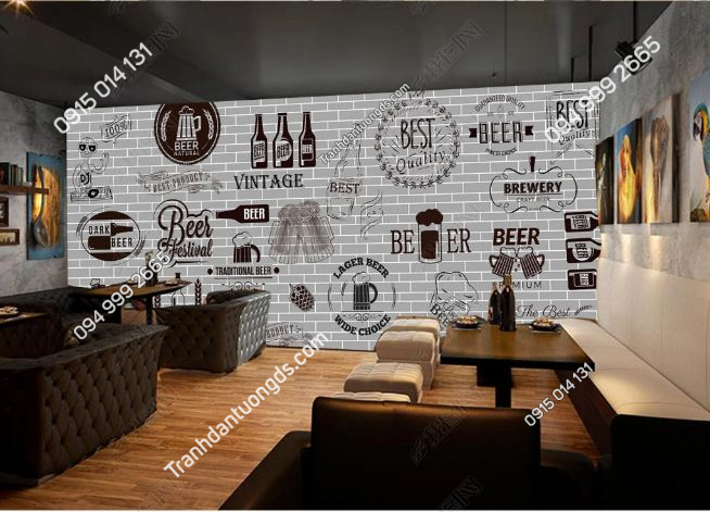 Tranh dán tường quán beer vintage DS15345470