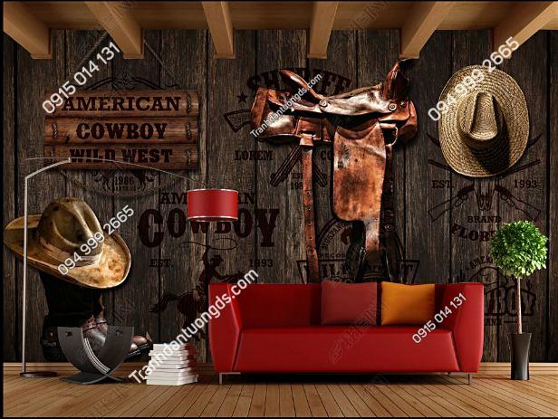 Tranh dán tường quán bia phong cách cowboy DS16716069