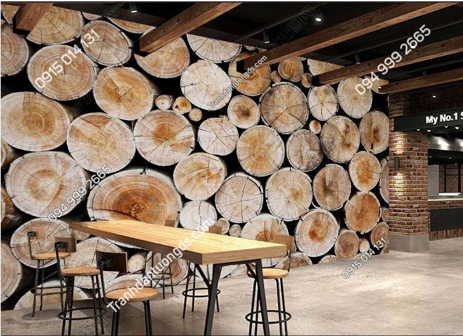 Tranh dán tường quán bia phong cách gỗ DS15241023