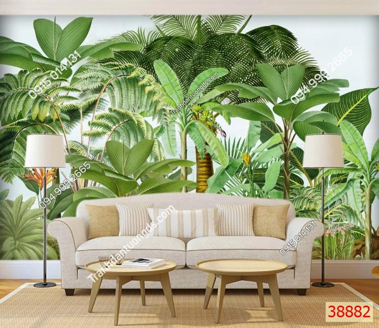 Tranh dán tường rừng chuối nhiệt đới 38882 demo