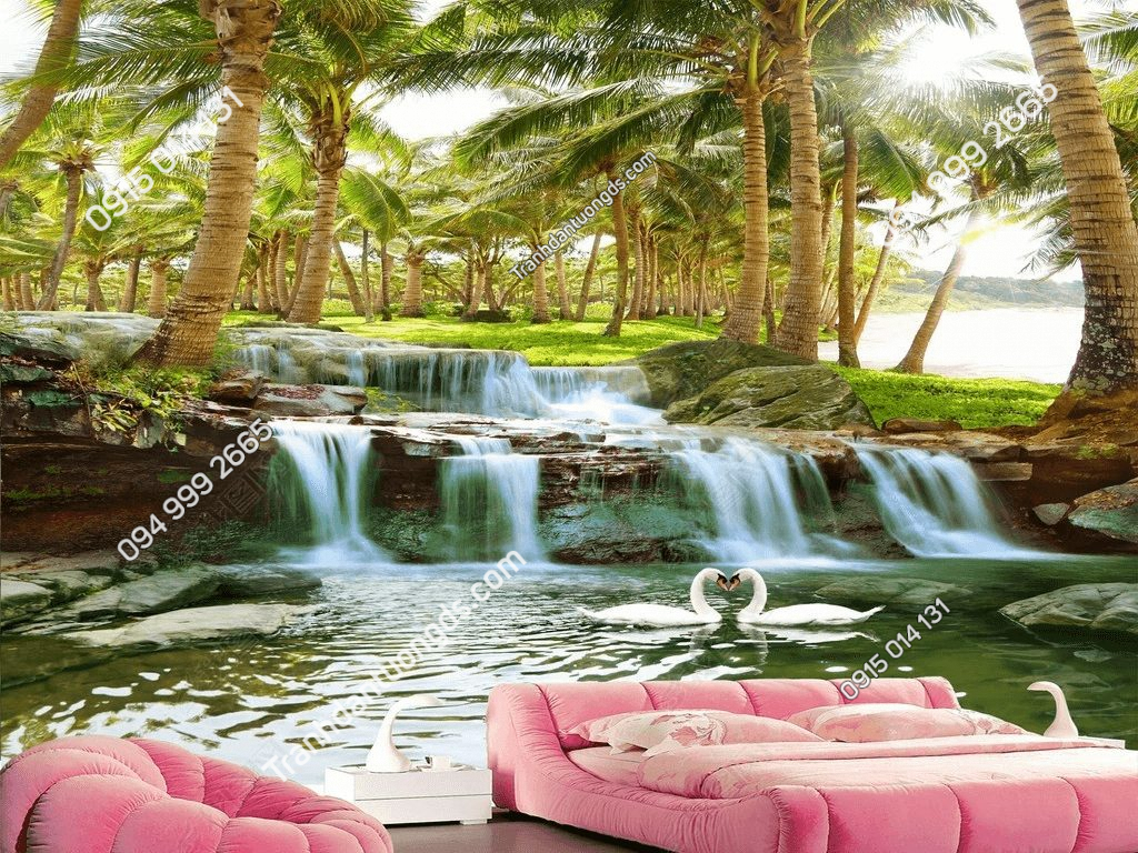 Tranh dán tường rừng dừa suối nước - DS17411678