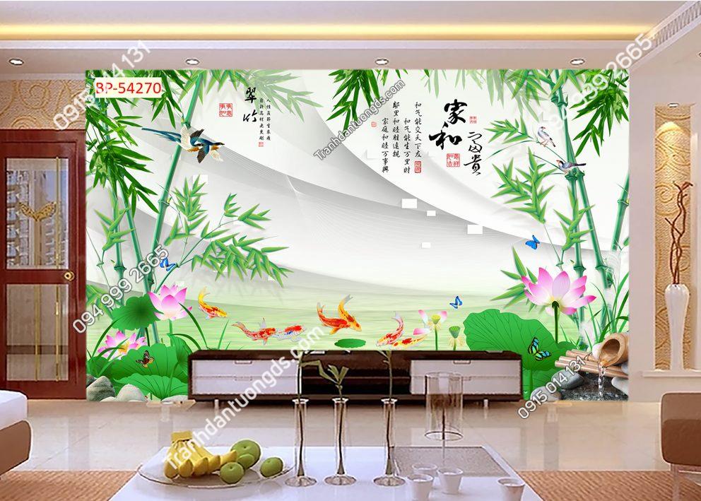 Tranh dán tường tre cá hoa 54270