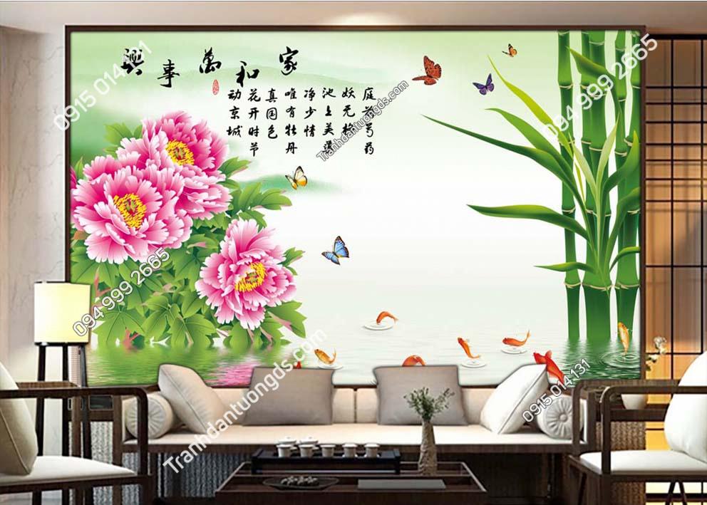 Tranh dán tường tre hoa bướm TX21