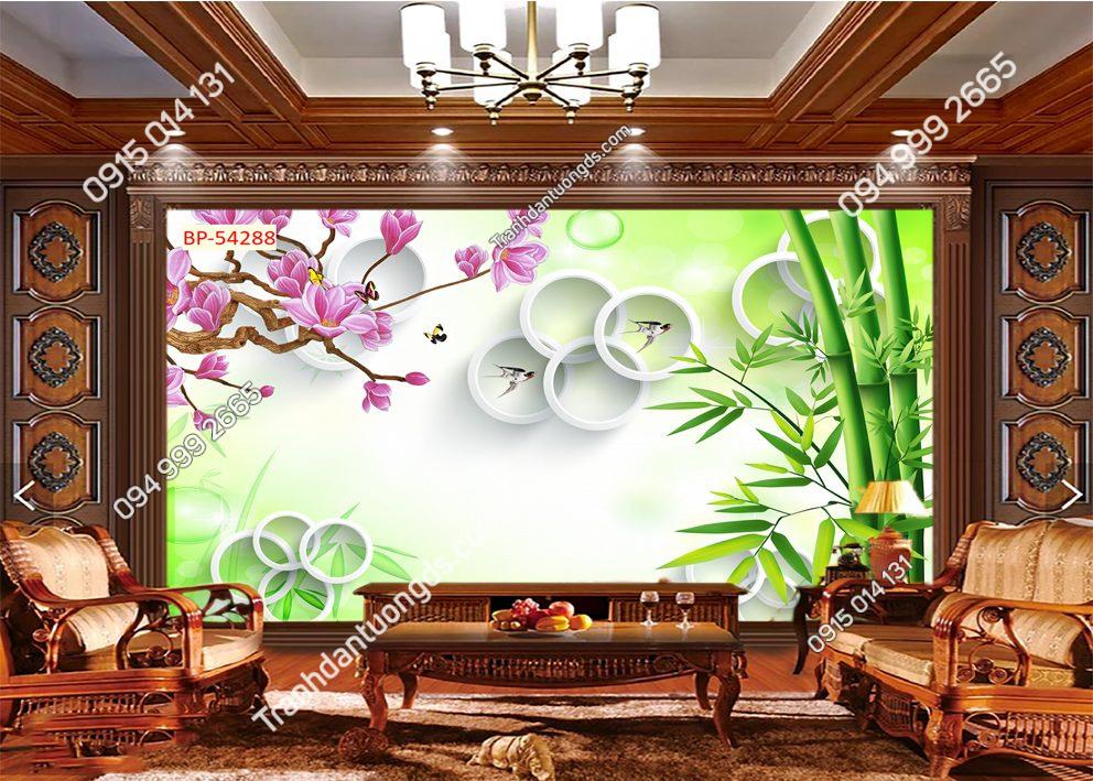Tranh dán tường tre hoa đào 54288