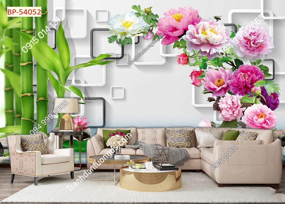Tranh dán tường tre và hoa 54052