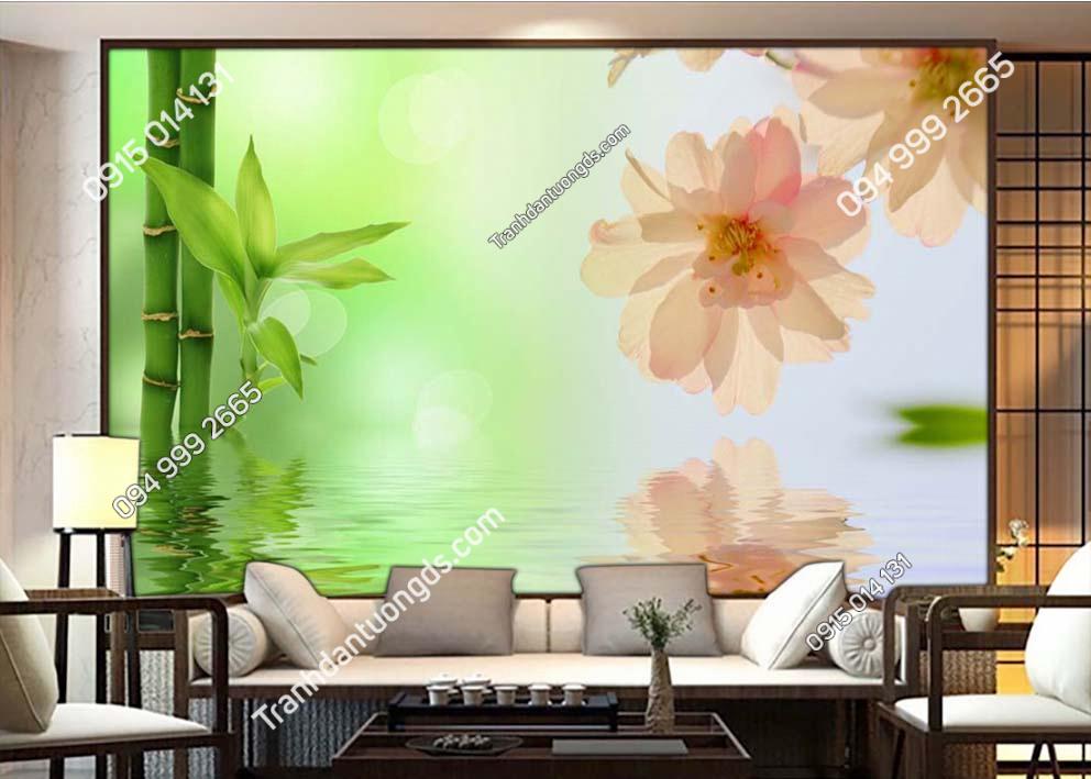 Tranh dán tường tre và hoa TX03
