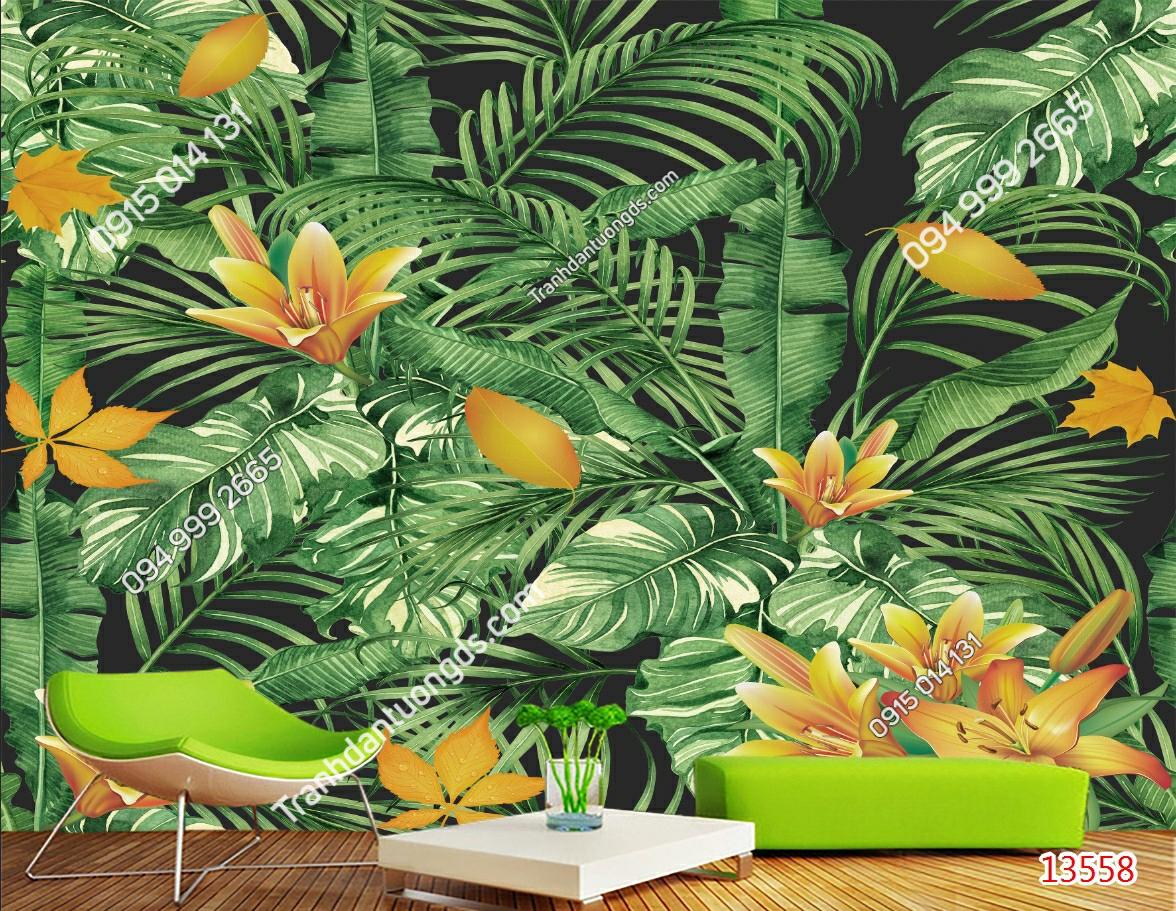 Tranh dán tường tropical 13558 demo