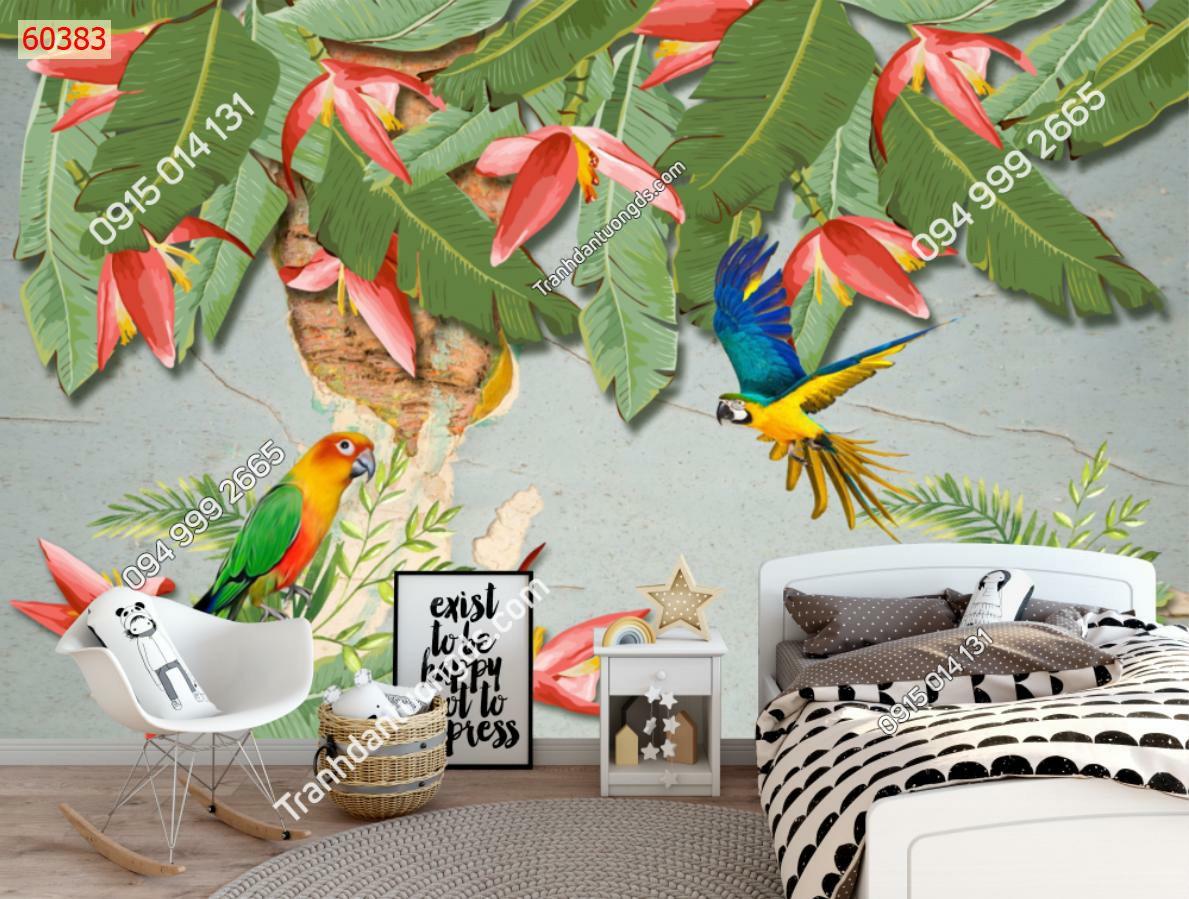 Tranh dán tường vẹt và hoa chuối 60383-demo