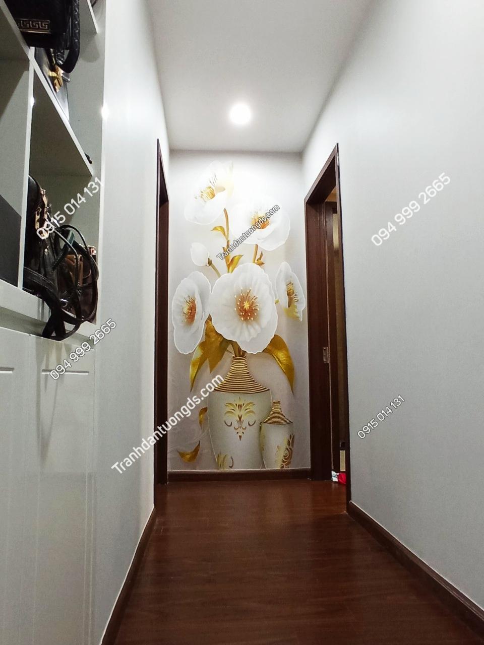 Tranh 5D bình hoa giả ngọc dán hành lang