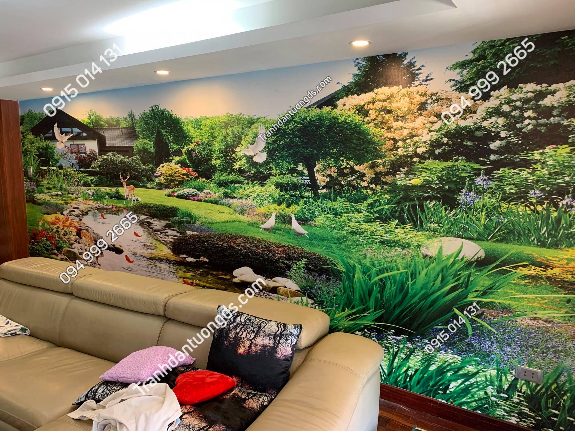 Tranh dán tường phong cảnh phòng khách