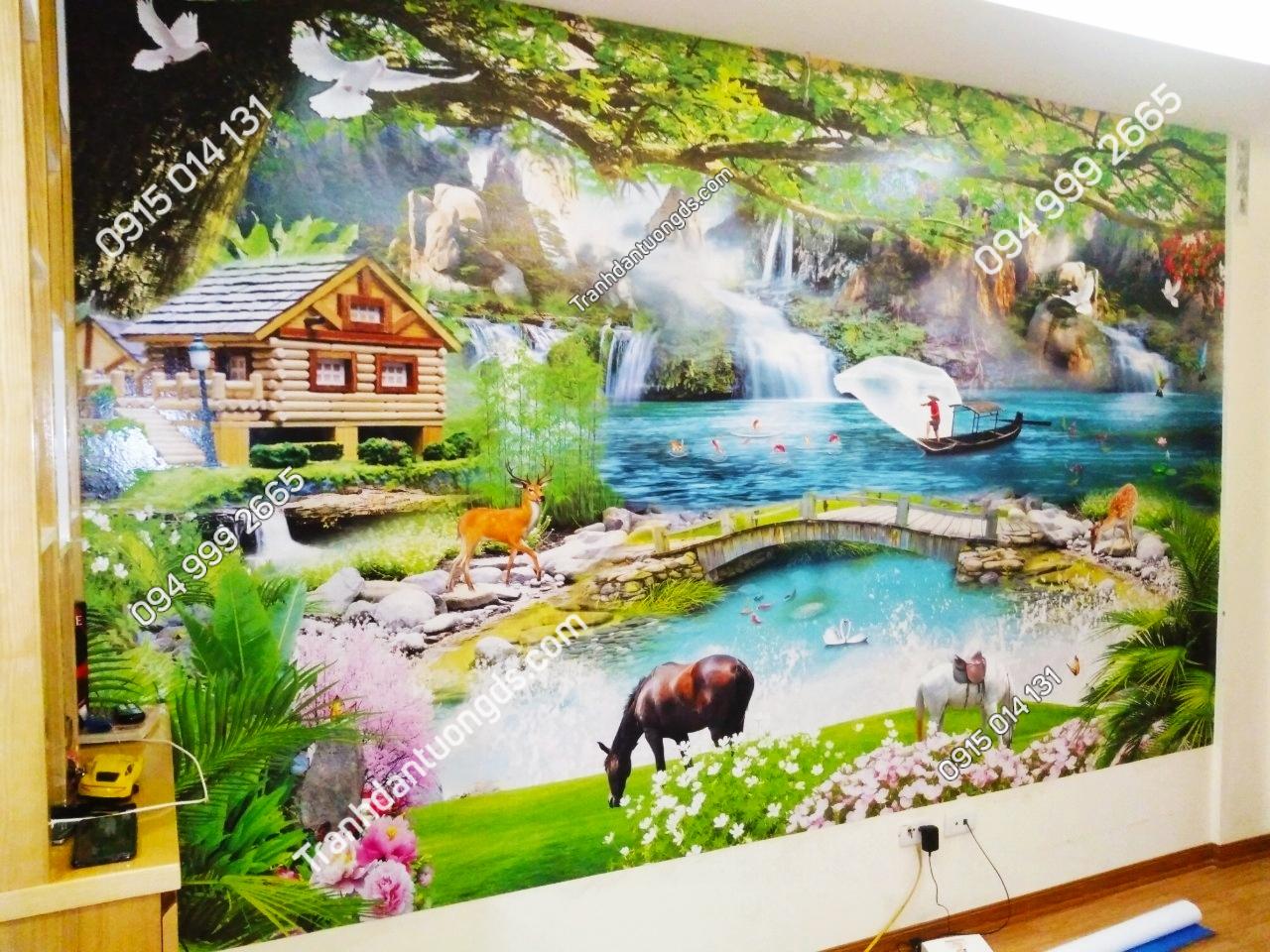 Tranh dán tường phòng khách 5D phong cảnh