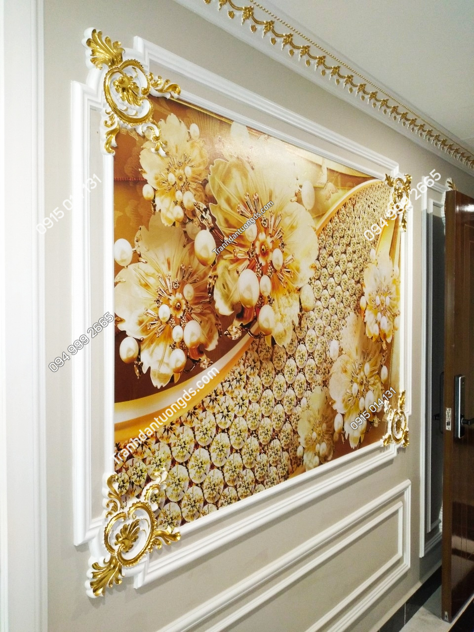 Tranh dán tường hoa giả ngọc 5D phòng khách