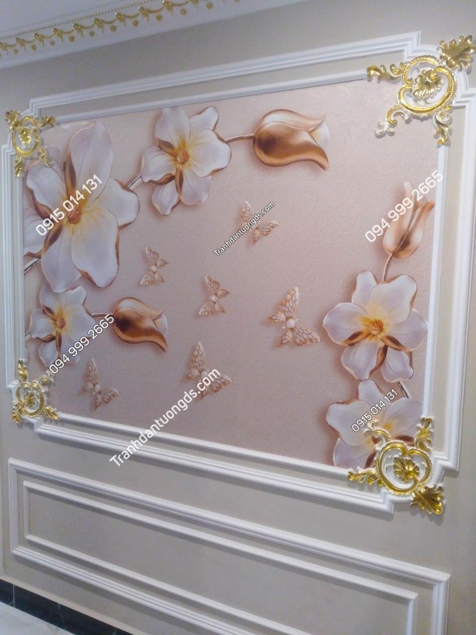 Tranh dán tường hoa đá quý 5D dán phòng ngủ