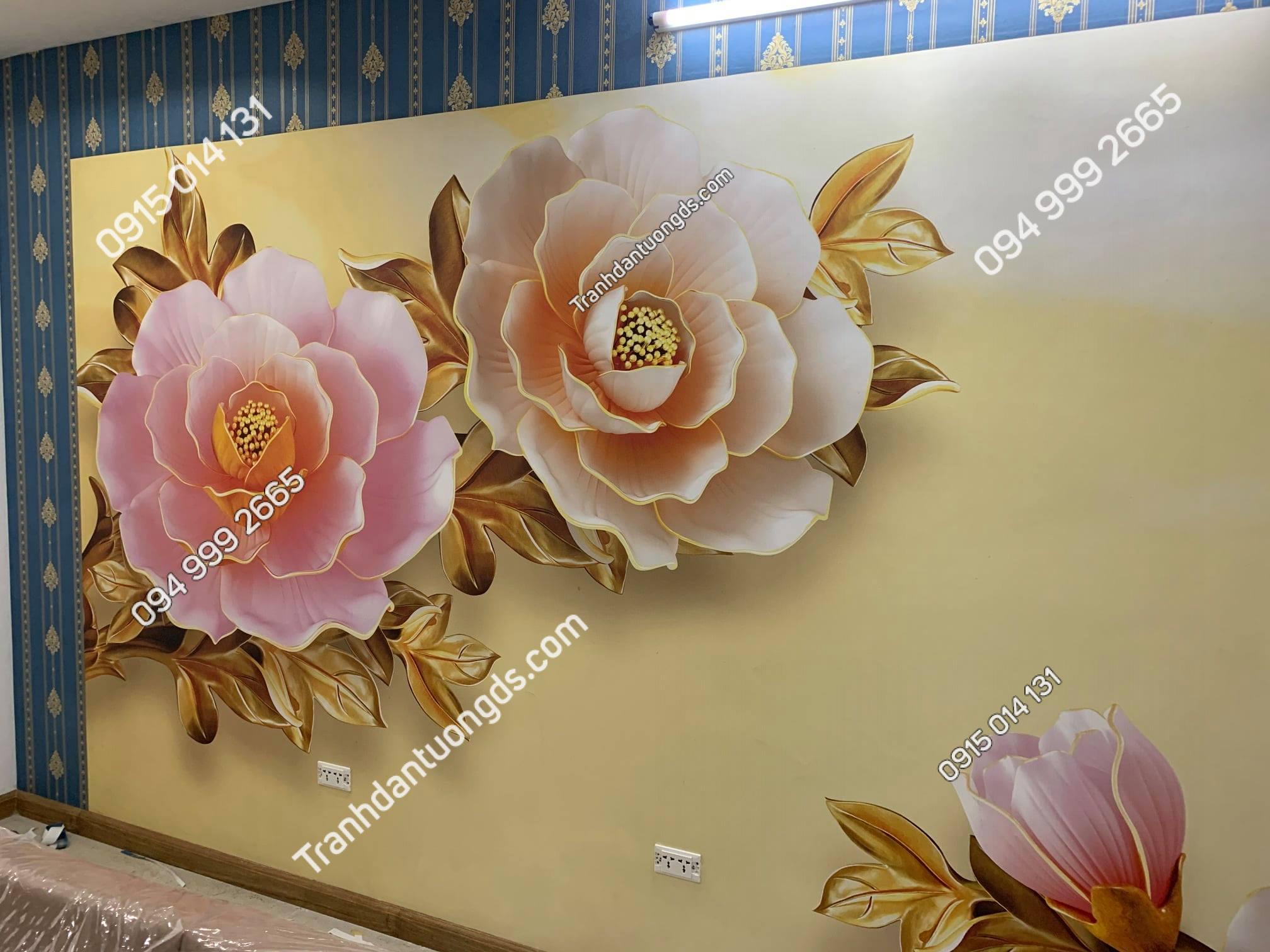 Tranh giấy dán tường hoa phòng khách