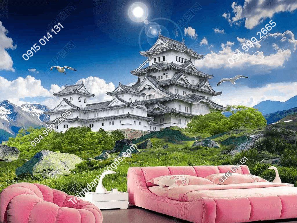 Tranh phong cảnh lâu đài 5D phòng khách- DS19020152