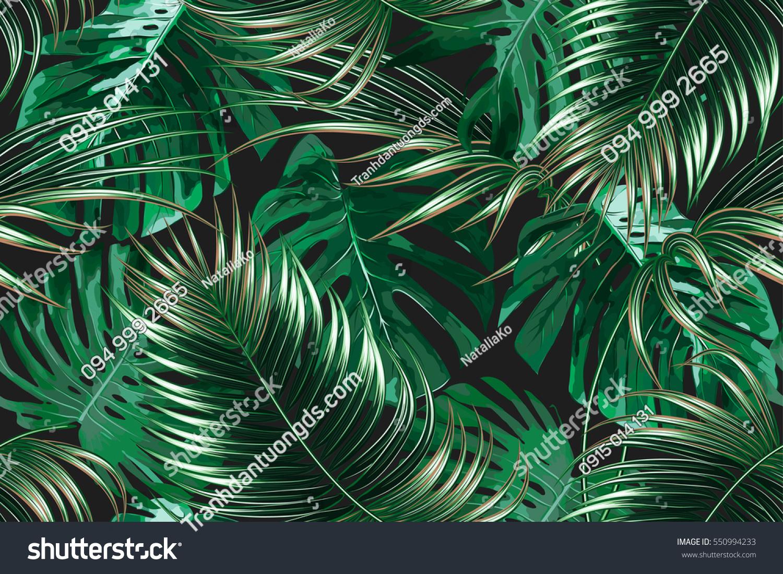 Tranh dán tường lá tropical