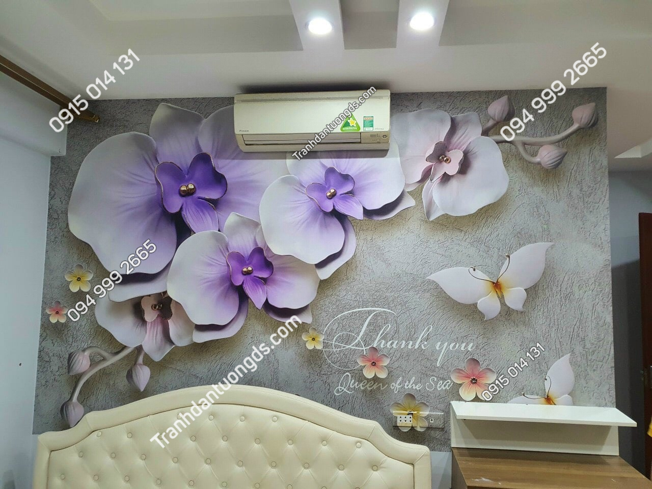 Tranh 3D hoa giả ngọc nhẹ nhàng phòng ngủ