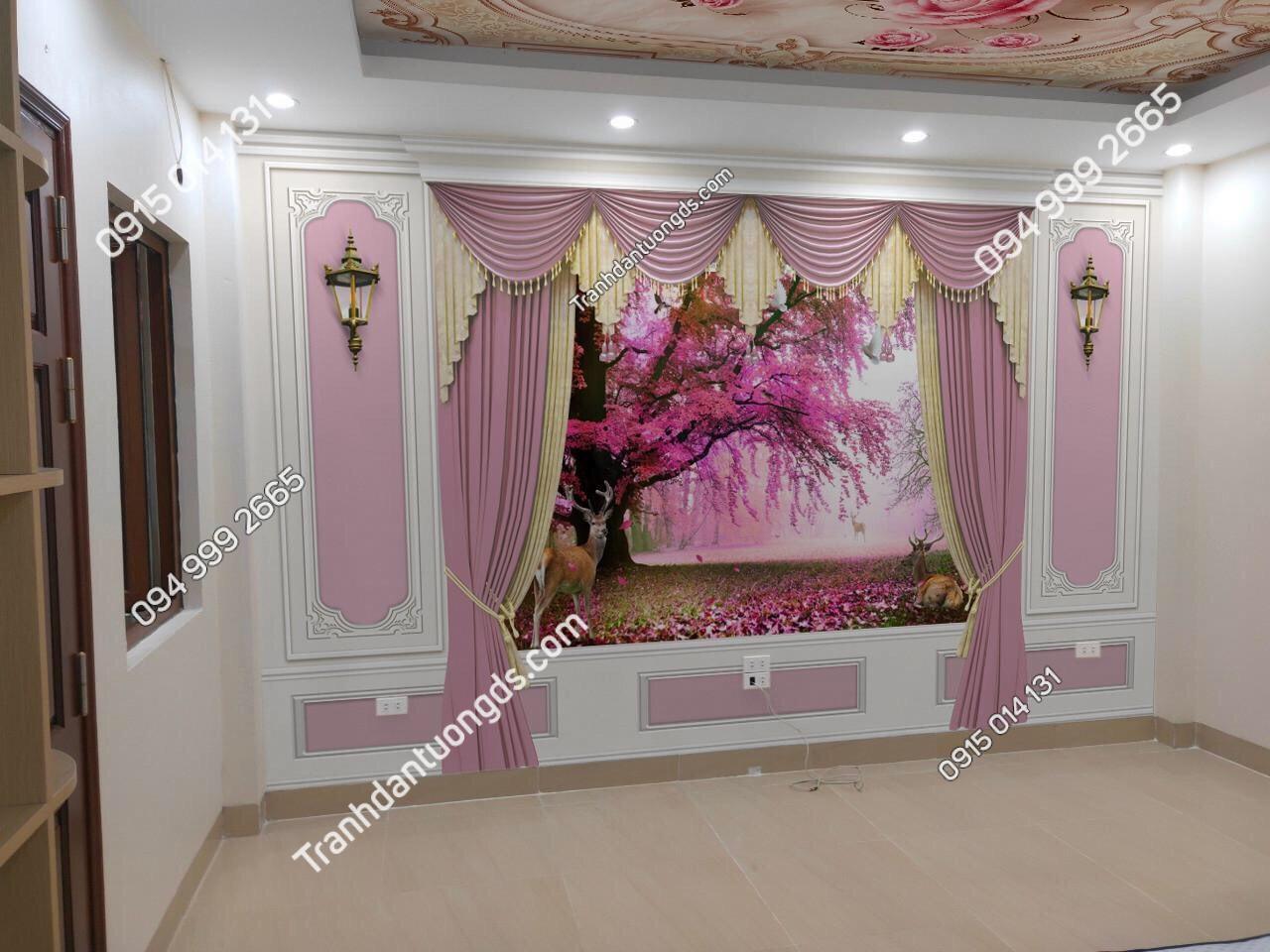 Tranh giả rèm màu hồng cho phòng ngủ
