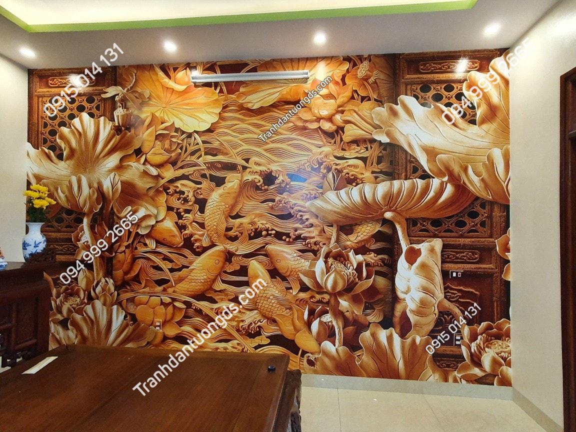 Tranh dán tường giả điêu khắc phòng thờ đẹp
