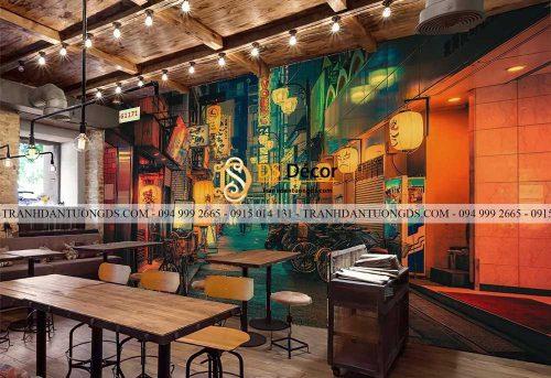 Mẫu tranh 3D hongkong quán cafe
