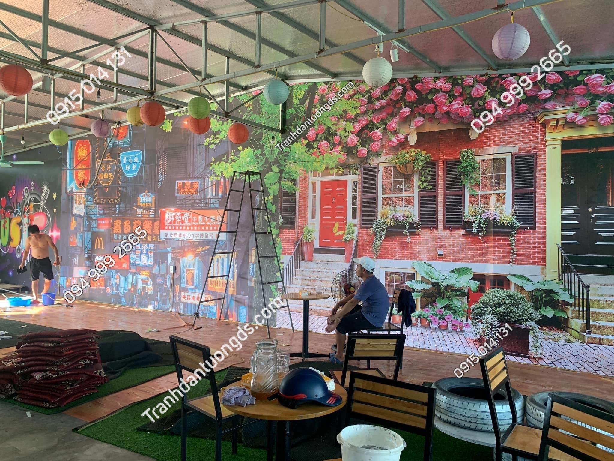 Thi công quán cafe trà sữa bằng tranh 3D