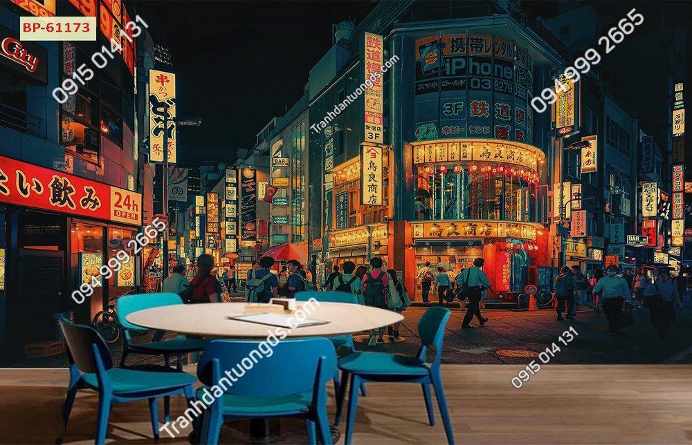 Tranh 3D bối cảnh hongkong cho quán