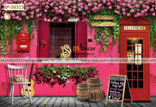 Tranh 3D cảnh quán cafe đẹp