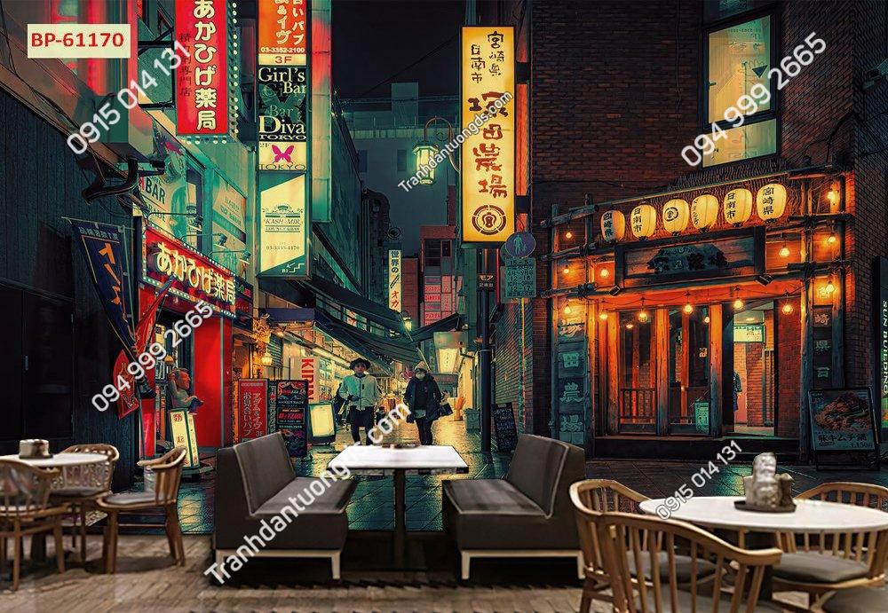 Tranh 3D hongkong cho quán