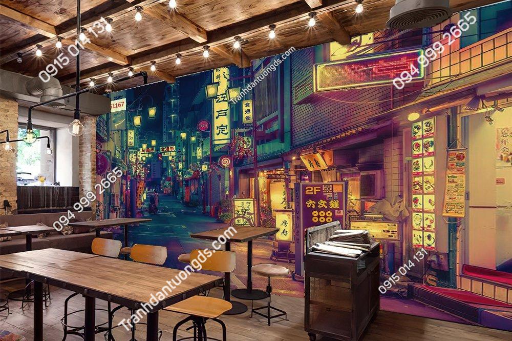 Tranh 3D hongkong đẹp dán quán