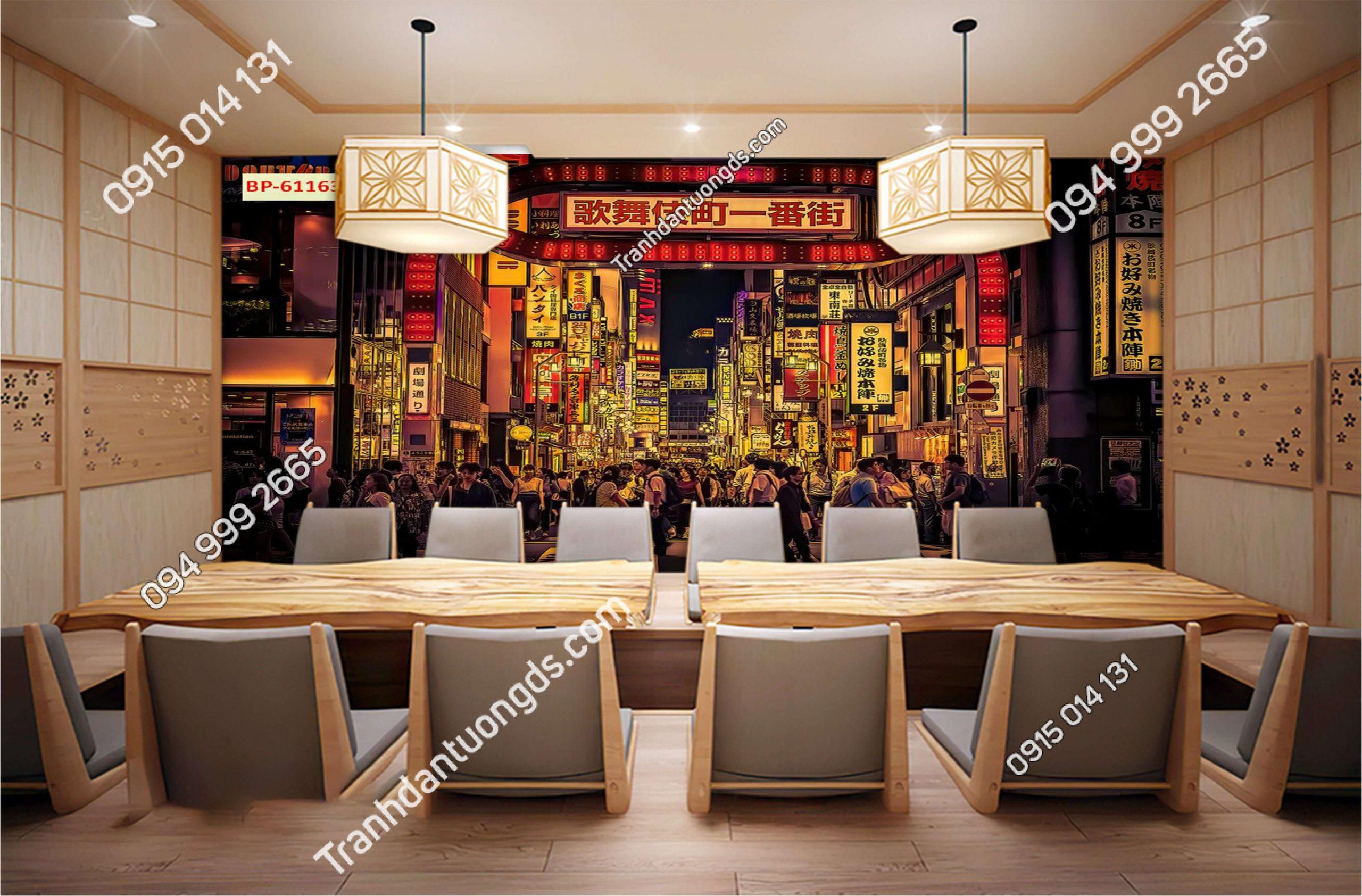 Tranh 3D hongkong quán cafe