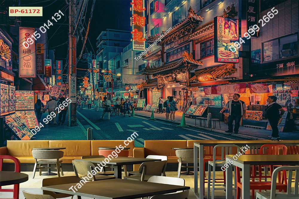 Tranh 3D in lụa phố hongkong