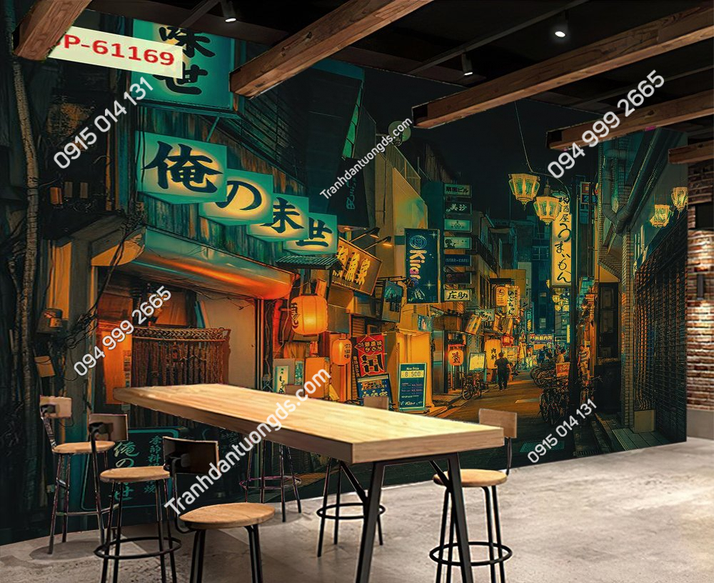 Tranh 3D phố hongkong