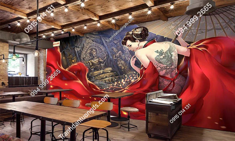 Tranh 3D phong cách quán cafe