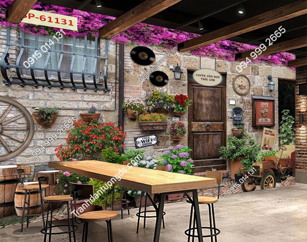 Tranh 3D tường cổ quán cafe