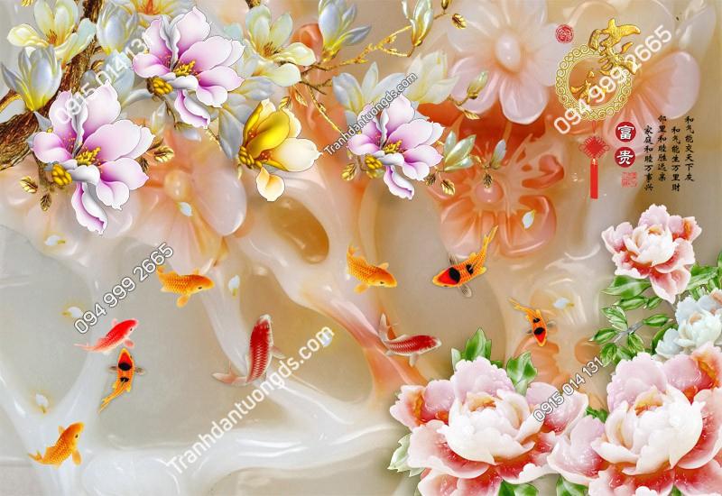Tranh cá chép và hoa (1711)