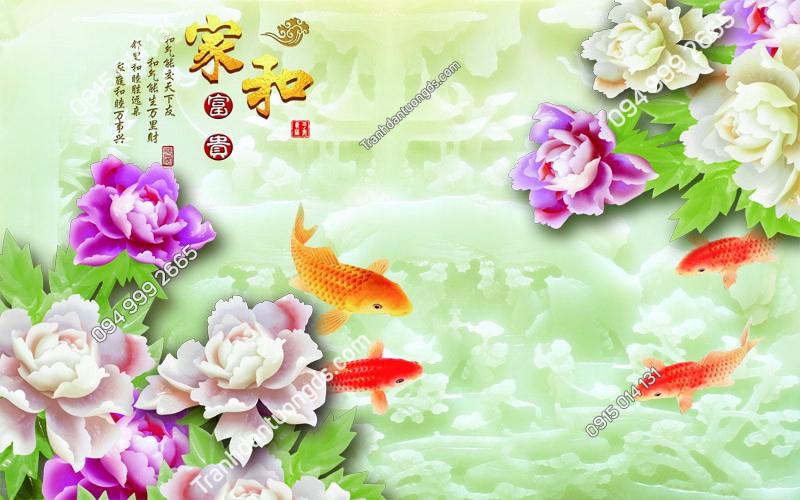 Tranh cá chép và hoa - (1714)