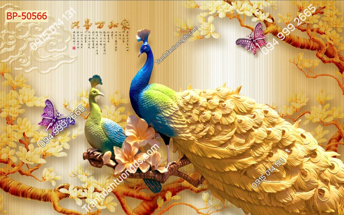 Tranh chim công đuôi vàng dán tường 50566