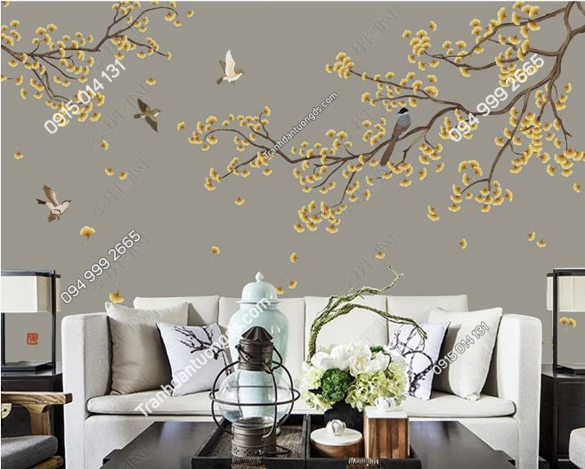Tranh chim và hoa dán tường DS_17403022