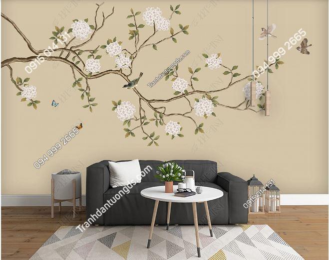 Tranh chim và hoa dán tường DS_17612179